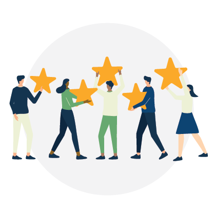 Increases Client Satisfaction, people holding stars